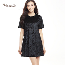 Velvet dress verao 2017 ucrania ladies plus size casual dress solida em torno do pescoco de manga curta tamanho grande vestidos