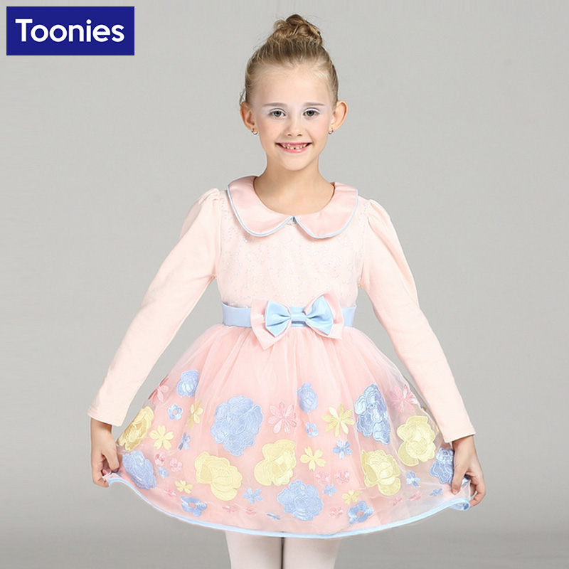 Princess Embroidery Dress Girls Clothes 2017 Brand Girls Dresses Long Sleeve Children Party Costume Flower Christmas Clothing<br><br>Aliexpress