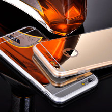 Retro Luxury Clear TPU Frame Bling Mirror Cover For Iphone 6 6S Plus Gold Silver Super Slim Flexible Soft Case For Iphone6S 5.5(China)