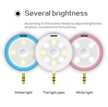 LED Ring Flash Selfie Light Camera Nice Spotlight Beauty Flash with 3W Music Speaker Aux Universal For Smart Phone Plug