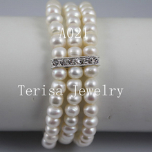 Gorgeous Freshwater Pearl Braclet 8-9MM Baroque Shape Triple Row Natural Pearl Elastic Bracelet(China)