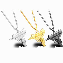 2017 New Arrival Necklace Stainless Steel Revolver Necklace Men's Hip Hop Necklace Charms Gun Pendant Necklace accessories