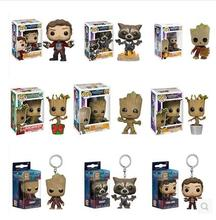 Original Funko POP Marvel Guardians of Galaxy Groot Rocket Star-Lord Action Figure keychain Figure Action keychains with Box