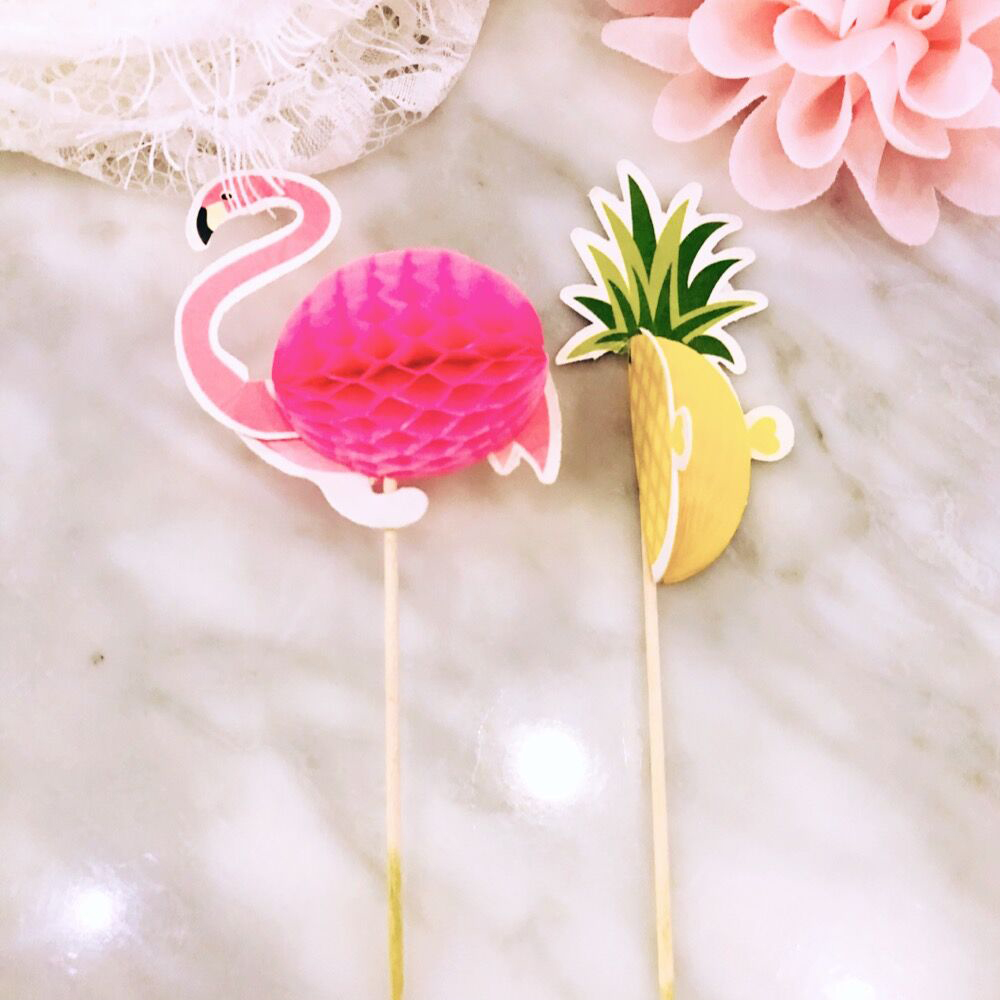 NEW 10pcs Stereo Pineapple Flamingo Fruit Toothpick Flower Sign Wedding Party Decoration Easter Home Decoration Accessories (9)