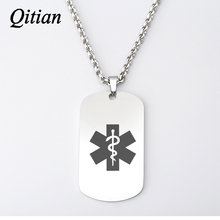 Qitian Personalized Custom Medical Alert ID Necklace Army Dog Tag Necklaces & Pendants Men Jewelry Stainless Steel DIY Engraved(China)
