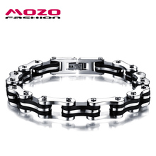 MOZO FASHION Men Jewelry Stainless Steel Silicone Bracelets Biker Bicycle Motorcycle Chain Man Hand Bracelet Accessories MGS3136