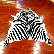 zebra printed rug animal faux skin cowhide carpet Big Size 2X1.5M black white mat Imitation Leather Mat for clothing store(China)