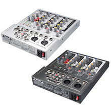 4 Channel Professional Live Mixing Studio Audio Sound Console 48V USB Mixer Console Network Anchor Sound Card Black White(China)