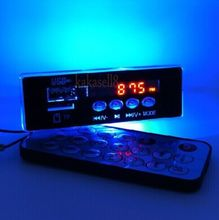 5V 12V MP3 audio decoder board Digital Blue LED FM radio remote control For car free shipping