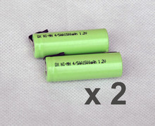 2PCS 1.2V 4/5AA rechargeable battery 1500mah 14430 4/5 AA ni-mh nimh cell with welding tab pins for electric shaver