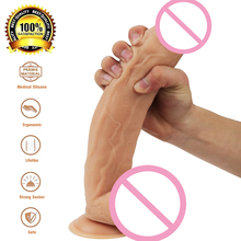 Buy Super Soft Realistic Silicone Huge Dildo Suction Cup Male Artificial Penis Dick Masturbator Adult Sex Toys Women