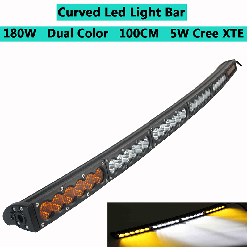 180w dual color curved led light bar work light single row with cree white amber yellow car offroad for jeep cherokee xj wj truck car atv suv auto driving work light bar combo beam