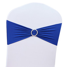 50pcs/Lot Stretch Wedding Chair Cover Band With Buckle Slider Sashes Bow Decorations Wholesale(China)