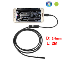 Android Phone Micro USB 6 LEDs 1M Endoscope Inspection Camera 5.5mm 2M Android Phone PC USB Borescope IP67 Waterproof
