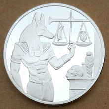 Egypt Death Protector Anubis Silver Coin Copy Egyptian God Of Death Commemorative Coins Steel Craft Dia 40MM(China)