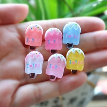 30pcs/Lot Flat Back Resin icecream Kawaii Icecream Accessory Cabochons Botoes Resin Food For DIY Decoration - Mixed 10 Deisgns(China)
