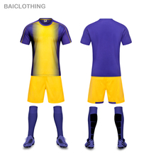 Free Shipping 17 New Popular Yellow & Purple Color Men's Woman Girls Soccer Jerseys Can Custom Man Soccer Uniforms Football Team