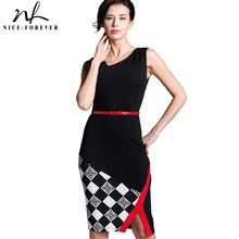Nice-forever Summer Office Lady Sleeveless Belted Vintage Dress Irregular V Neck Patchwork Checks Zipper Pencil Fit Dress B290(China)