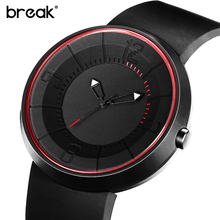Break Men Women Creative Black Silicone Strap Waterproof Matte Stainless Steel Light Sports Casual Fashion Quartz Watches