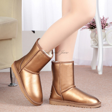 2016 hot Golden Silver waterproof Australia Winter Sale Fur Women's Bota Snow Boots High Shoe with Genuine Leather for Women ugi