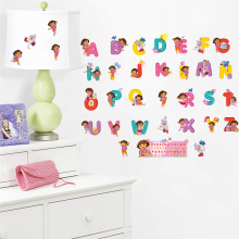 dora the explorer english letters wall decals kids room decoration diy cartoon nursey mural art home sticker poster peel & stick