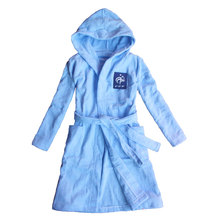 [FEETOO] 2017 new boy bathrobe 100% cotton French national football team embroidery children's nightgown hat blue towel cloth ro
