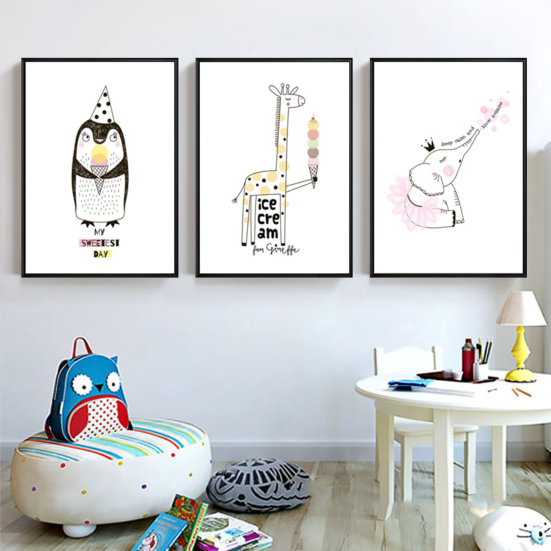 Estilo-n-rdico-Quarto-Dos-Mi-dos-Decora-o-Sorvete-Cartazes-E-C-pias-Girafa-Rosa (4)