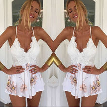 Sexy Women Lace V-Neck Backless Spaghetti Strap Floral Causal Beach Summer Short Jumpsuit