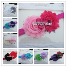 "XIMA  Elastic Headband with Double 2.5"" Shabby Frayed Flowers With Embroidered Sequin Bows  Kids Hair Accessories Hair Bows"