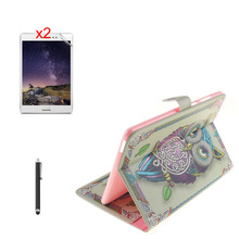 Retro Print Stand PU Leather Cover Skins inner Soft TPU Case+2*Matte Films+Stylus For ASUS Zenpad S 8.0 Z580 Z580CA Z580C Tablet(China)