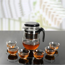 wholesale heat-resistant glass seven-piece best office kungfu black and oolong tea set one pot and six cups t301(China)