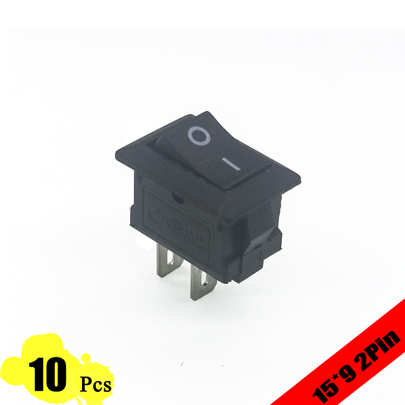 10pcs/lot 15*10 mm 2PIN Kcd1 Boat Rocker Switch SPST Snap-in ON/OFF Position Snap 3A/250V MINI(China (Mainland))