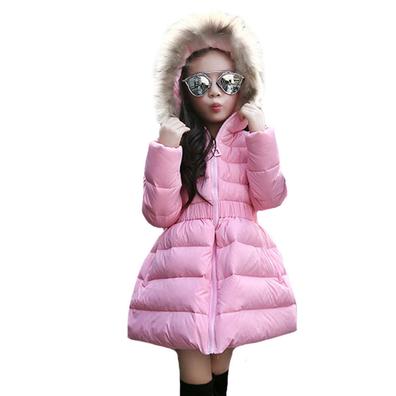 New Kids Winter White Duck Down Jackets For Girls Long Style Zipper Waist Coat Fashion Hooded Warm Children Outerwear ClothesОдежда и ак�е��уары<br><br><br>Aliexpress