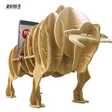 Exclusive Bullfighting bull side several animal shaped wooden bookcase shelves console table ornaments creative home decorations(China)
