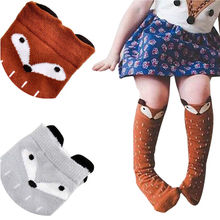 1Pair Hot Fashion Cute Kids Children Girls Boys Unisex 100% Organic Cotton Carton Fox Pattern Autumn Winter Warm Knee High Socks(China)
