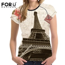 FORUDESIGNS 2017 Fashion T Shirt Women T-shirt 3D England landscape Design France Casual Tees Tops for Ladies Feminine Shirts