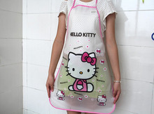 Cute kitchen aprons for woman 2pcs/lot cartoon apron avental hello kitty design kithcen funny apron PE cleaning cooking aprons
