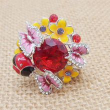 Adjustable Epoxy Big Stone Shiny Butterfly Ladybug Flower Ring Fashion Jewelry Statement Rings for Women - Two Colors Option