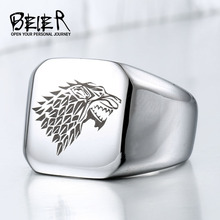 A Song Ice And Fire Game Of Thrones House Starks Winterfell Wolfe Signet Ring Stainless Steel Men Animal Jewelry BR8-274