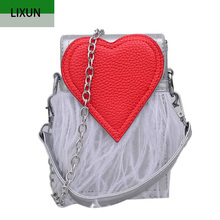 Women Designer Stylish Chain Crossbody PU Leather Handbags Ladies Hand Bags Red Heart Shoulder Bag Feather Tassel Messenger B