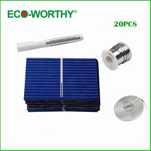 ECO-WORTHY 20PCS 39X26mm Polycrystalline Solar Cell Solar Cell Price Tabbing Bus&Flux Pen for DIY Poly Solar Panel(China)