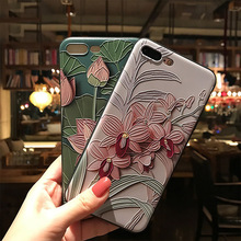 Classic Lotus Case For iphone6 6s Summer Cool Cartoon lotus Floral Phone Cases For iphone 6S 7 7Plus Soft relief Fashion Cover(China)