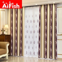 Europe New Style Chenille Blue and Purple Stripe Cashmere Cotton Jacquard Thicken Shade Cloth Curtain For the Bedroom AP182-30