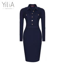 Navy Blue Dress Women Long Sleeve Vintage Formal Office Dress Slim Bodycon Midi Button Pocket Dress 2016 Ladies Solid