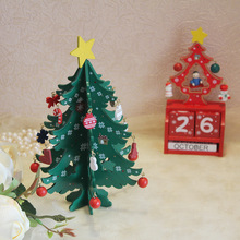 Christmas Theme Home Table Furnishings Handmade Wooden Christmas Tree Desktop Decoration Holiday Gifts Creative Wooden Crafts