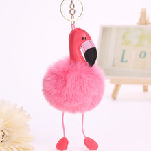 Nordic Cute Flamingo Keychain Women Kids Bag Hanging Pendant Decoration Crafts Pu Leather Children Room Wall Hanging Toy Gift(China)