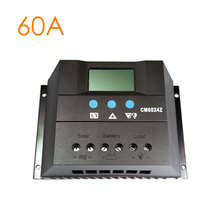 60A Solar Controller 12V 24V Solar Panel Battery Charge Controller Home System Indoor Use Overload Short Circuit Protection