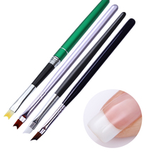 Acrylic French Nail Brush Smile Half Moon Shape Crystal Black Green Handle UV Gel Liner Painting Drawing Pen Manicure Tools 1Pc