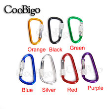100pcs Pack Aluminum Spring Carabiner With Screw Locking Snap Hook Hanger Keychain Hiking Camping Backpack #FLQ187(China)