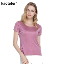 100% Pure Silk Women's T-Shirts Femme Tops Tees Shirt Women Casual Solid Candy Color Female Short Sleeve Fashion Ladies Shirts(China)